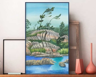 Georgian Bay coastal watercolor painting, group of seven print Northern nature landscape, coastal lake house cottage wall art decor art gift