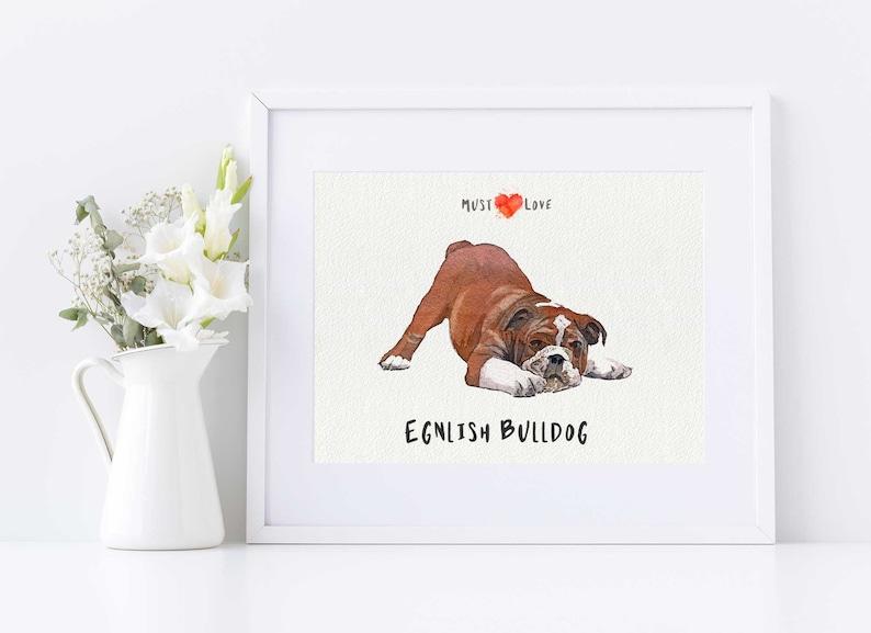 Pet Parent Gift. English Bulldog Cute Watercolor Dog Print