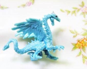 Blue Ice Dragon Figurine MINIATURE Tiny Mini Figures Fairy Garden Terrarium Small Micro Mini Dollhouse Diorama D&D Scaly Icy Winged Dragons