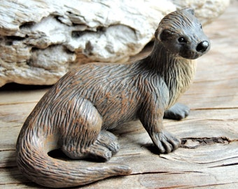 Vintage Resin River Otter Garden Animal Pond Statue Sculpture Ornament Large Art