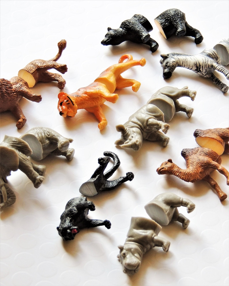Safari Plastic Animal Halves Diy Plastic Animal Crafts Ideas Etsy