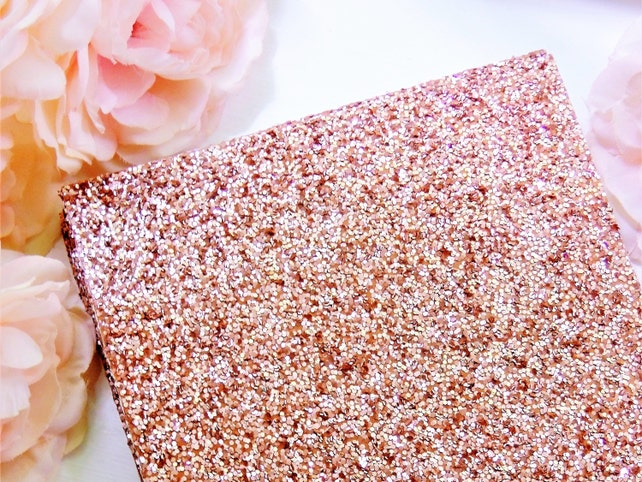 25 Rose Gold GLITTER SHEETS Cardstock Paper DIY Wedding Birthday Invitations Table Number Card Blank Invites Cards Party Supply 5x7 4x6 3x5