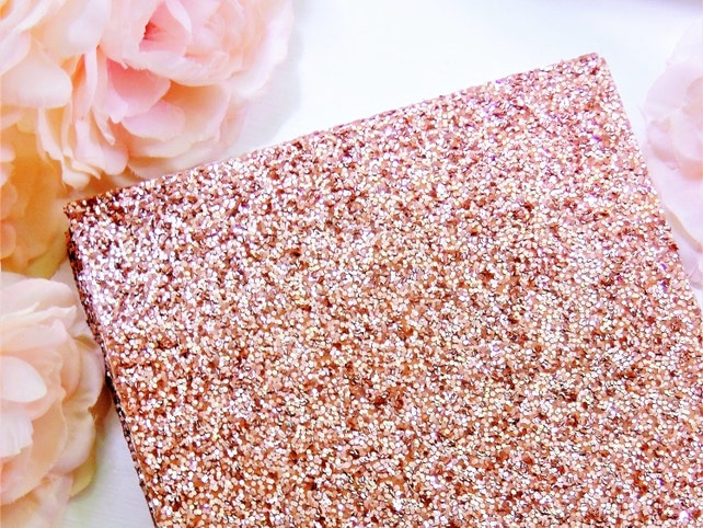 50 Rose Gold GLITTER SHEETS Cardstock Paper DIY Wedding Birthday Invitations Table Number Card Blank Invites