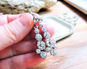 Vintage RHINESTONE DANGLE EARRINGS Costume Jewelry Clear Prong Set Scew Back Crystal Diamond Imitation Estate Mid Century Hollywood Regency