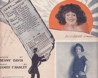 Lost (a Wonderful Girl) 1922 Vintage Sheet Music Belle Baker Benny Davis James Hanley