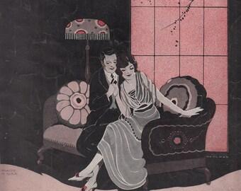 Tell Her At Twilight Just Sing Loves Sweet Song 1929 Vintage Sheet Music Will Donaldson Bernie Grossman Wohlman Art