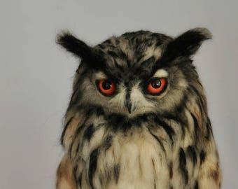 Needle Felted  Owl. Eagle Owl .