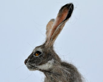 Needle felted  animal,  Felted rabbit, Needle felted bunny ,Needle felted rabbit, Wool Felt Animals. Jackrabbit. Made to order