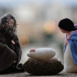 Needle felted Nativity Set / Nativity-Waldorf  /  3 pieces-/Holy Land-mother and child, father,needle felt by Daria Lvovsky-Made to orders