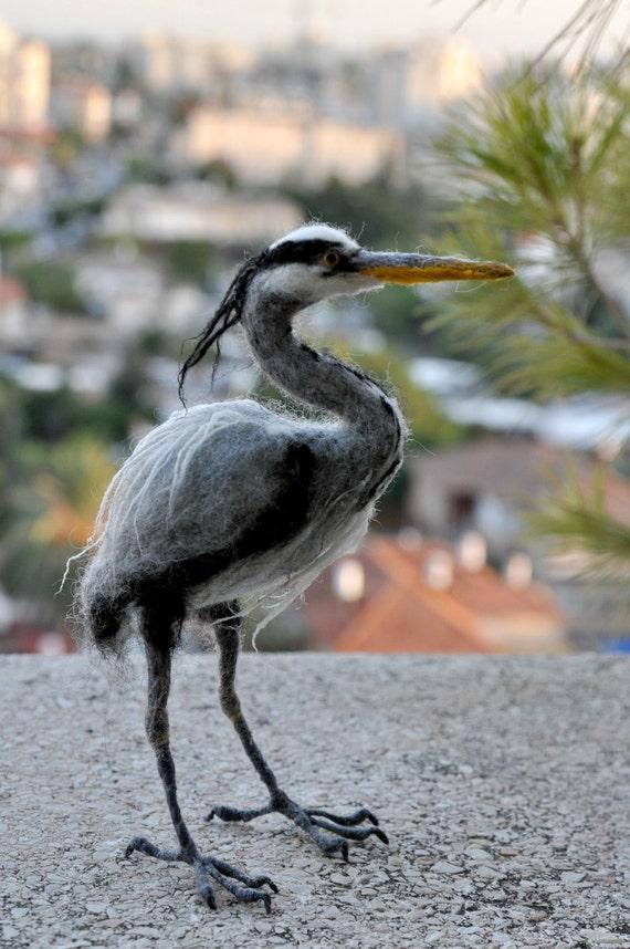 Needle Felted Bird Felted bird Grey heron. Needle felt bird