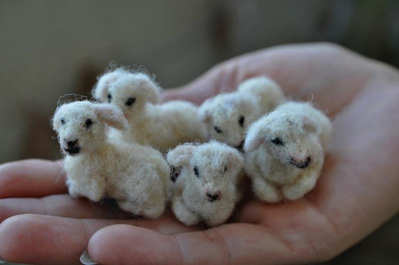 Needle felted animal Tiny lamb Needle felt animals Felted image 0