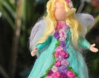 Needle felted Waldorf  Wool  Garden Fairy - Wool standing doll -Needle felt by Daria Lvovsky,