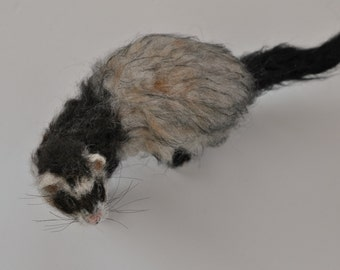 Needle felted animal Needle felted ferret. Custom pet portrait.  Memorial Needle felted ferret.