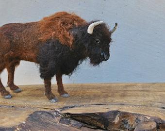 Needle felted Animals . Needle felted  Bison.