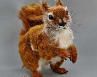 Needle Felted  Wool Animal. North American red squirrel.  Soft sculpture.