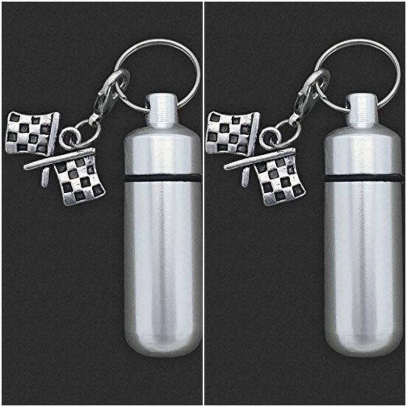 Two Pack Checkered Flag Racing Cremation Urn Ashes Holder Vial Key Chain