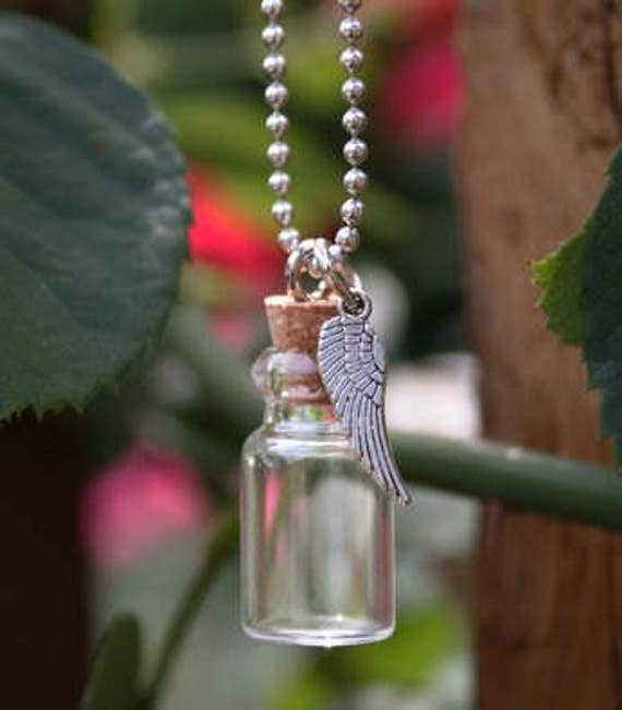 Angel Wing Urn Necklace: Angel Wing Ashes Urn Cremation Necklace Ashes Holder