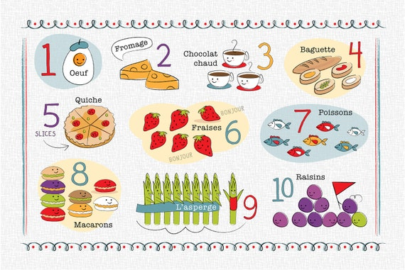 Kids French Number And Food Chart Placemat Etsy