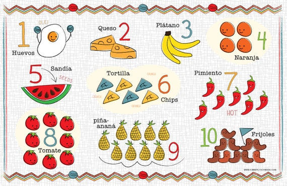 Kids Spanish Number and Food Chart Placemat on