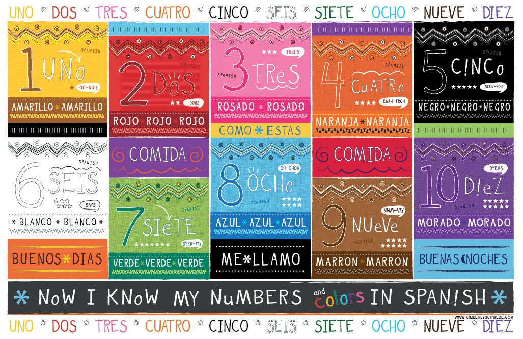 Kids Spanish Number And Color Chart Placemat Etsy