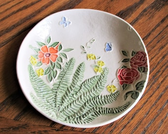 """Butterfly Garden Ceramic Ring, Candy, Trinket or Soap Dish   5""""                             #16"""