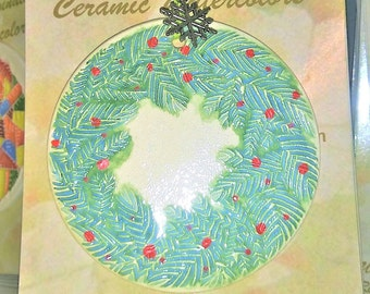 CHRISTMAS WREATH ORNAMENT handmade watercolor-ceramic makes great teacher, hostess, co-worker gift; memorable wine bottle gift tag, too!