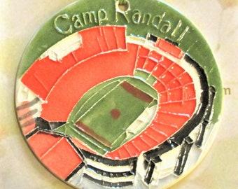 CAMP RANDALL Stadium ornament + free gift wrap Locally handmade ceramic UW grad Madison Wi alum son daughter family student band member gift