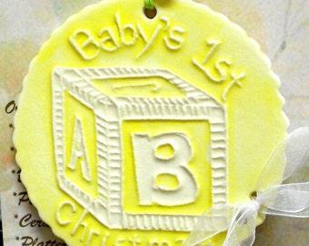 BABY'S 1st CHRISTMAS ORNAMENT handmade ceramic raised texture multi color pastel infant newborn child Christmas keepsake + baby block charm