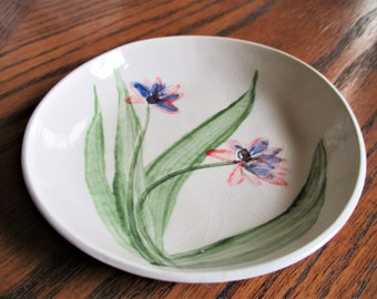 """Real Wildflower impressed handmade ceramic dish! Ring, Candy, Soap or Anything Dish    5"""" Pink Purple Blue Scilla               S7"""
