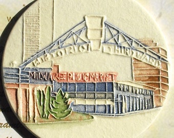 Milwaukee Public Market Ceramic-Watercolor Ornament for wall or tree plus free gift wrap, original, 100% handmade