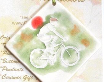 BIKE RIDER Ceramic-Watercolor Ornament for wall or tree plus free gift wrap, original, 100% handmade