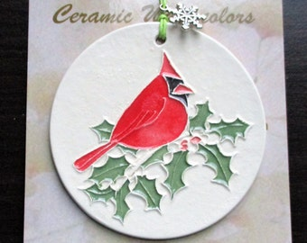 Red Cardinal and Holly Textured Unique Handmade ORNAMENT