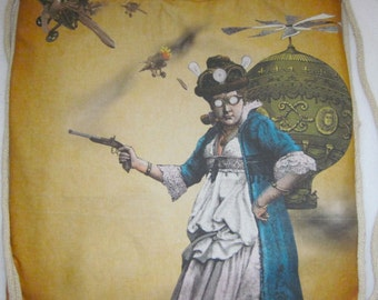 Steampunk Don't mess with me -  2 in 1 Backpack/tote Custom Print