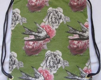 Romantic Peonies and Birds:Backpack/tote Custom Print