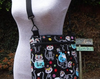 Day of the Dead Kitty/dog Custom Tablet bag/tote made to order