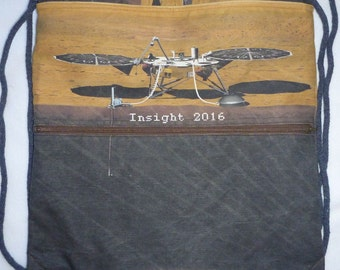 Mars Rover Insight 2016 (2018 now) cottonlinen canvas Backpack/tote Custom Print