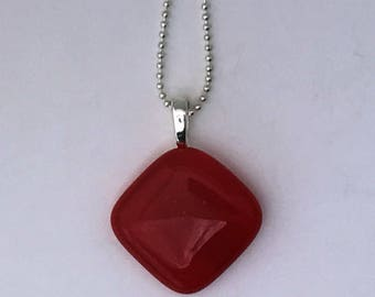Red Mini Fused Glass Pendant