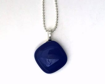 Blue Mini Fused Glass Pendant