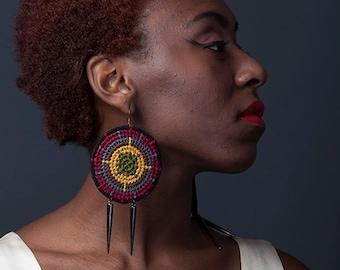 Circle Grid Weaved Multi Colored Earrings w/ Spike Pendants
