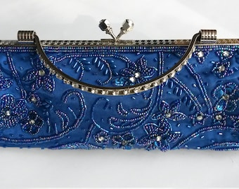 31091319c7f6 Vintage Evening Bag - 1990s Blue Evening Purse with Beading and Embroidery  - Vintage Midnight Blue Bag with Rhinestone Handle