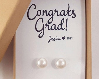 Grad Gift for Her, Pearl Earrings and Necklace Set, College Graduation Gift Ideas, High School Graduation Jewelry