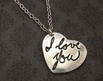 Handwriting Necklace - Fingerprint Necklace - Wife Statement Jewelry - Gift for her - Say Anything Jewelry