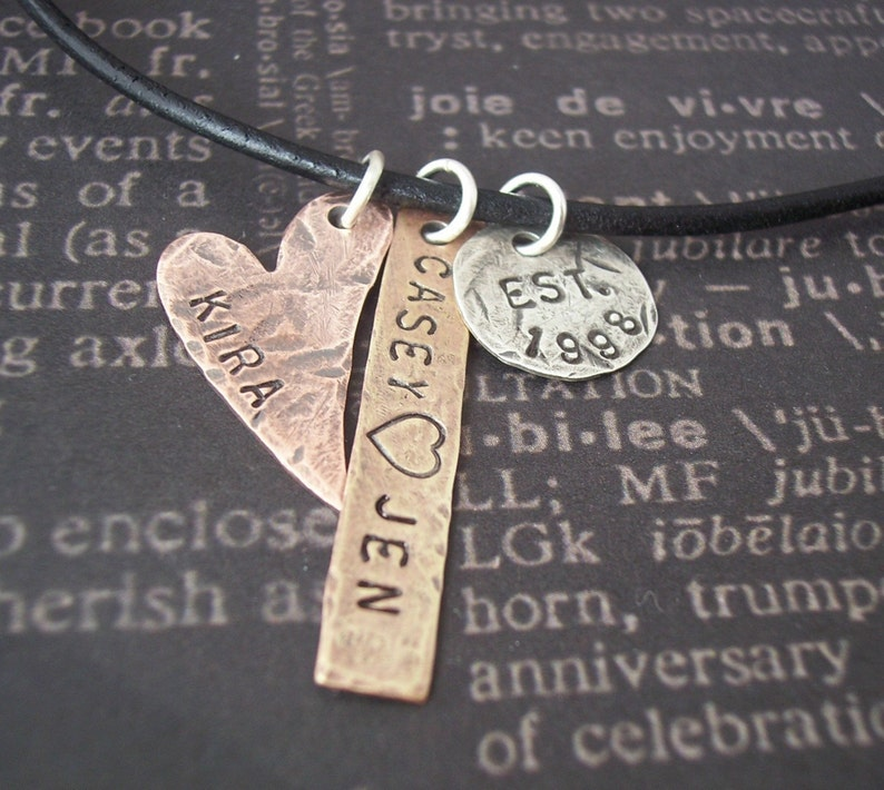 ea342c5471d15 Hand Stamped necklace - Personalized hand stamped jewelry - WONDERFUL  FAMILY Silver disc, Copper heart, and Brass tag
