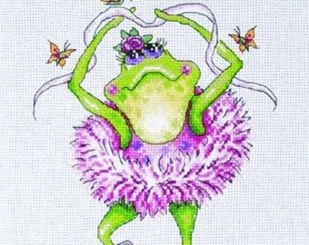 Frog Dancer Cross Stitch Kit from Design Works 2757 , Dancing frog Counted Cross Stitch, Cross stitch kit, green frog kit, embroidery kit