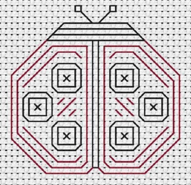 Beginners Blackwork Ladybird from Fat Cat Cross Stitch Ideal for children easy blackwork cross stitch kit blackwork kit