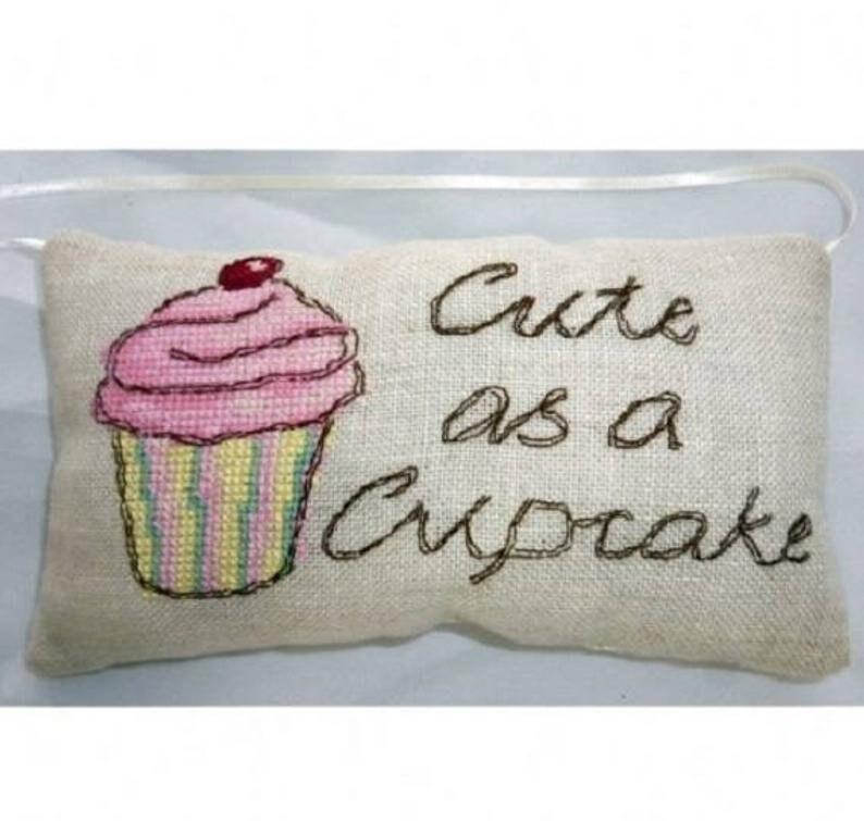 counted cross stitch kit cross stitch cupcake cross stitch cinnamon cat kit linen kit Cupcake Vintage Mini Pillow Kit from Cinnamon Cat