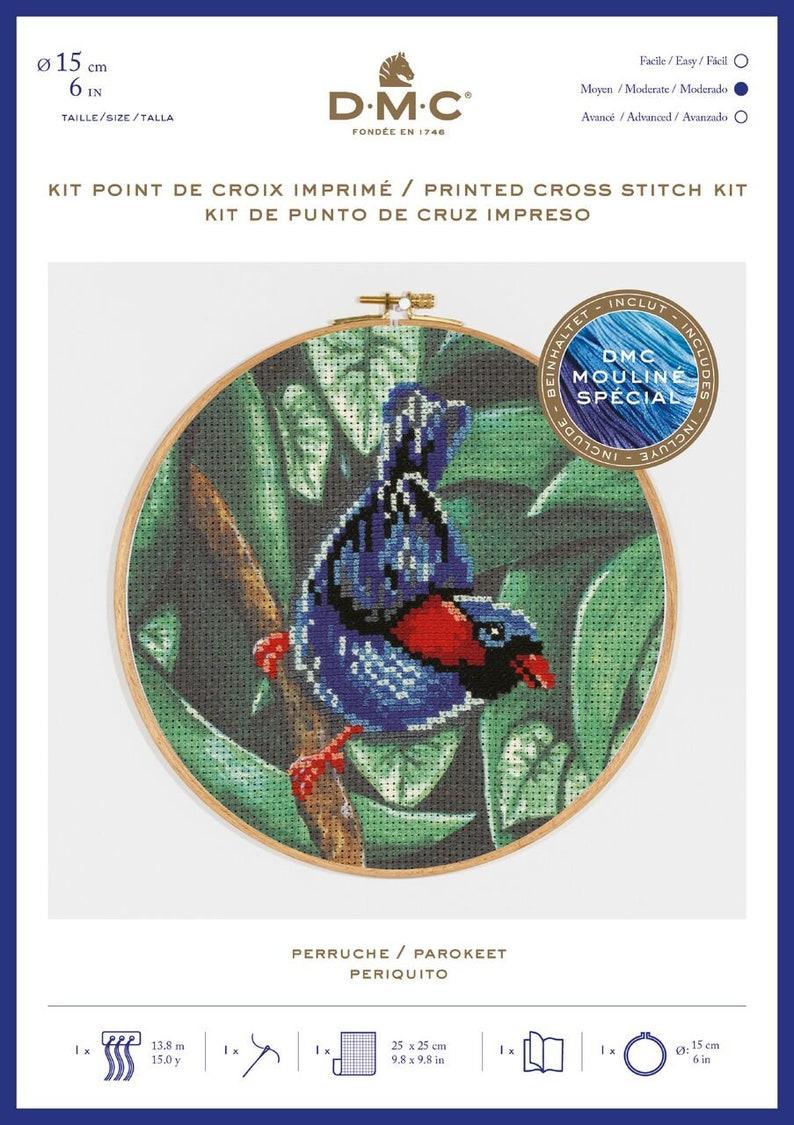 bird Cross Stitch printed Cross stitch kit DMC Printed Cross stitch kit Parrot kit PAROKEET BK1790