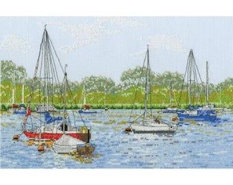 DMC Yachts at Oulton Broad stitch kit-BK964 , Counted Cross Stitch,  yachts and boat, uk scenery kit, yacht kit