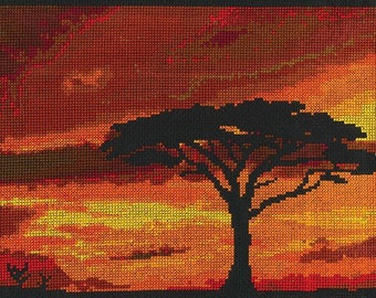 DMC Savannah Sunset Cross Sitch kit-BK1721  designed by Mr X Stitch, African Savannah, landscape, sunset