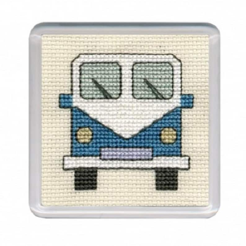 van coaster kit Blue Campervan Coaster Cross Stitch Kit from Textile Heritage